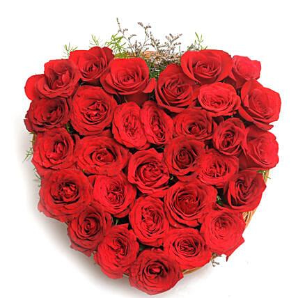 Blooming Love - Heart shape arrangement of 30 red roses in a basket.:Flower Basket Arrangements
