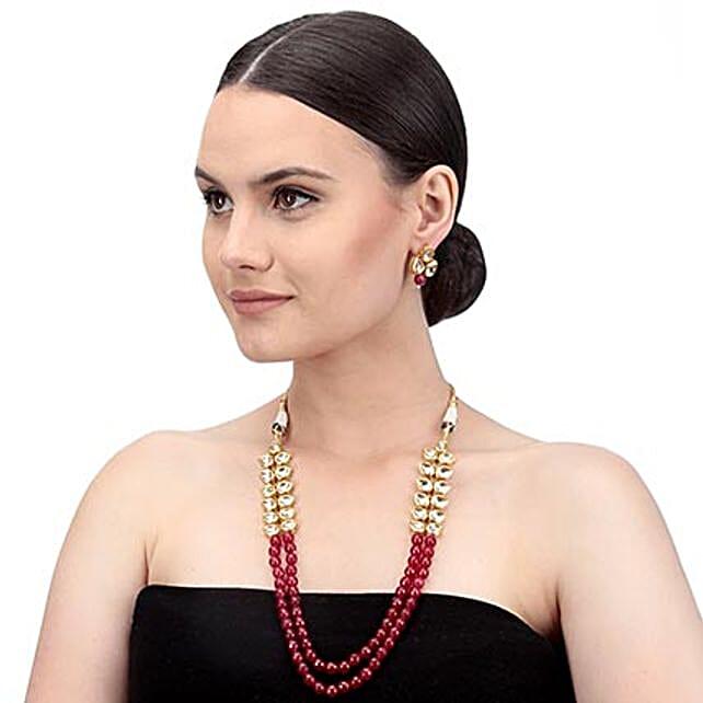 Bold Red & Gold Kundan Necklace Set
