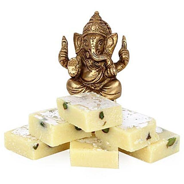 Brass Ganesha With Pista Burfi By FNP