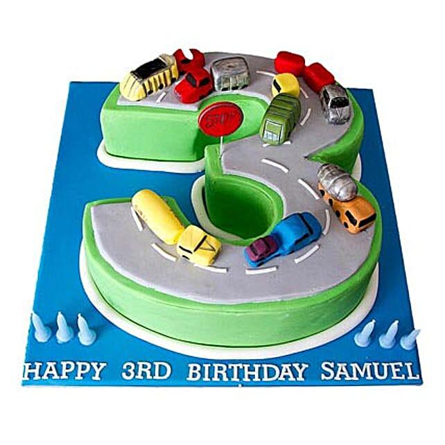 Cars Birthday Cake 2kg Eggless Pineapple