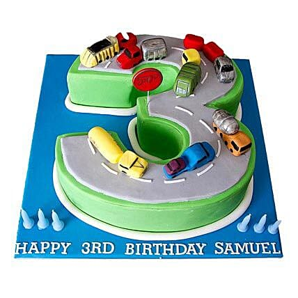 Cars Birthday Cake 3kg Eggless Vanilla