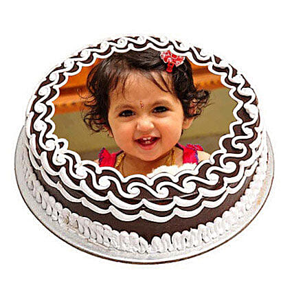 Chocolate Photo Cake 1kg Eggless
