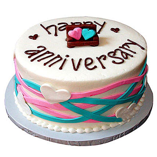 Colorful Anniversary Fondant Cake Vanilla 2kg Eggless