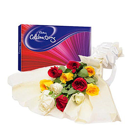 Colorful Celebration - Bunch of 12 mix roses in paper packing and box of 119 gms cadbury celebration chocolate box.