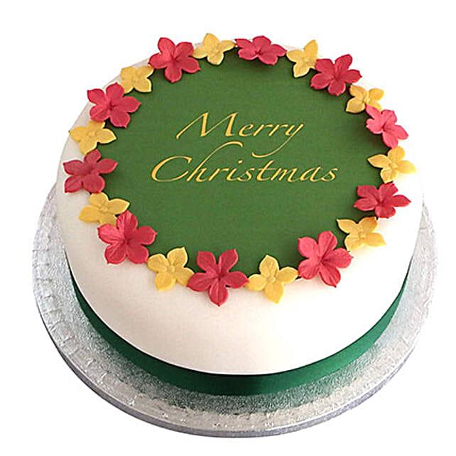 Colorful Christmas Fondant Cake Vanilla 3kg Eggless