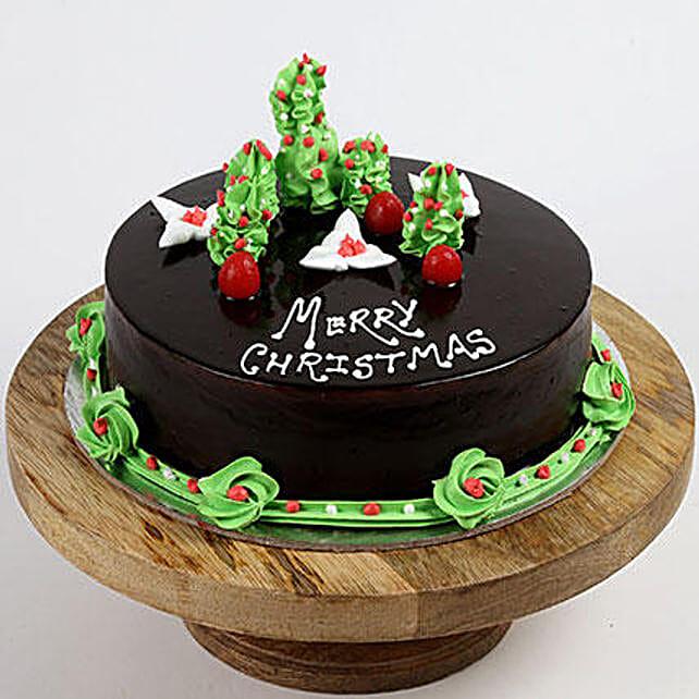Creamy Christmas Tree Vanilla Cake, Half Kg Eggless
