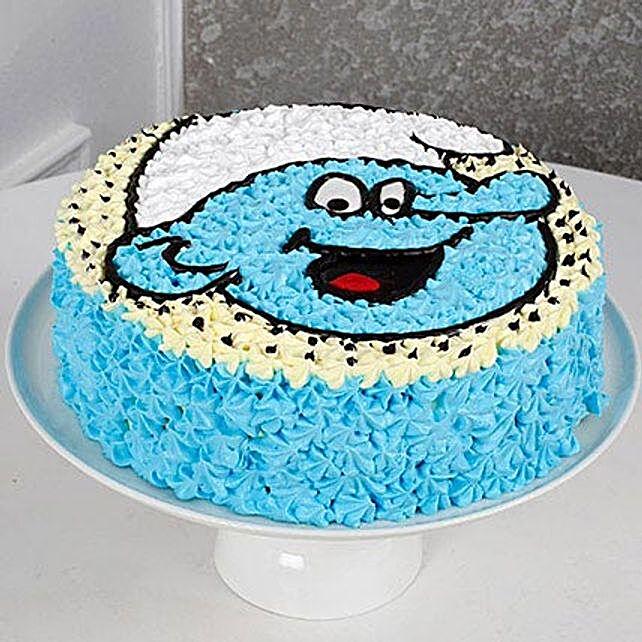 Cute Smurf Cream Black Forest Cake 2kg Eggless