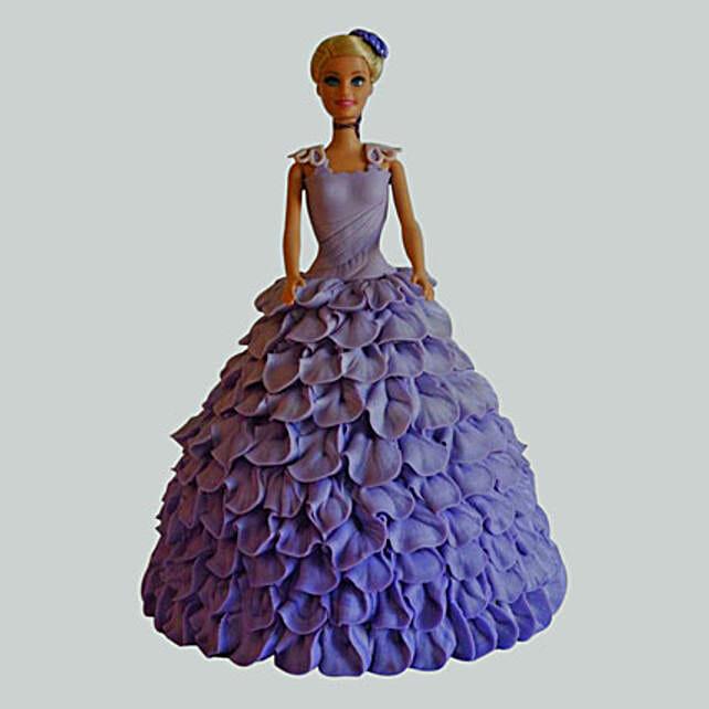Dazzling Blue Barbie Cake Vanilla 2kg Eggless