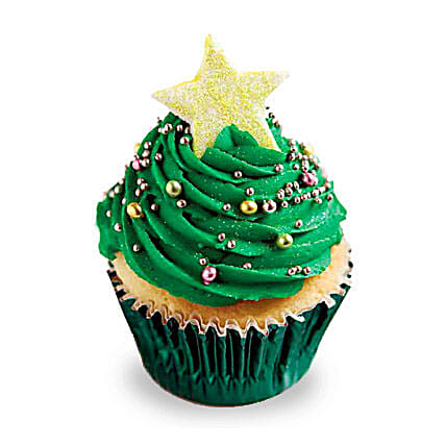 Decorative Christmas Tree Cupcakes 24 Eggless