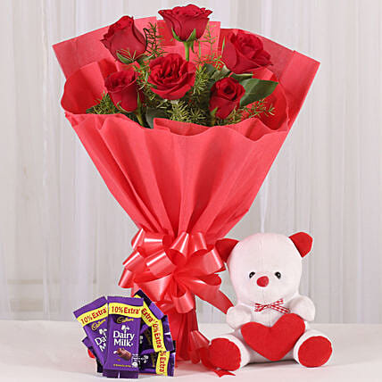 Divine Love - Bunch of 6 Red Roses with 6inch cute Soft & 5 Cadbury . gifts:Flowers & Teddy Bears for Anniversary