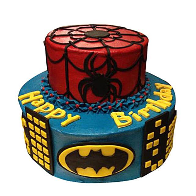 Brilliant Dual Batman Spiderman Cake 5Kg Eggless Gift Cartoon Character Funny Birthday Cards Online Fluifree Goldxyz