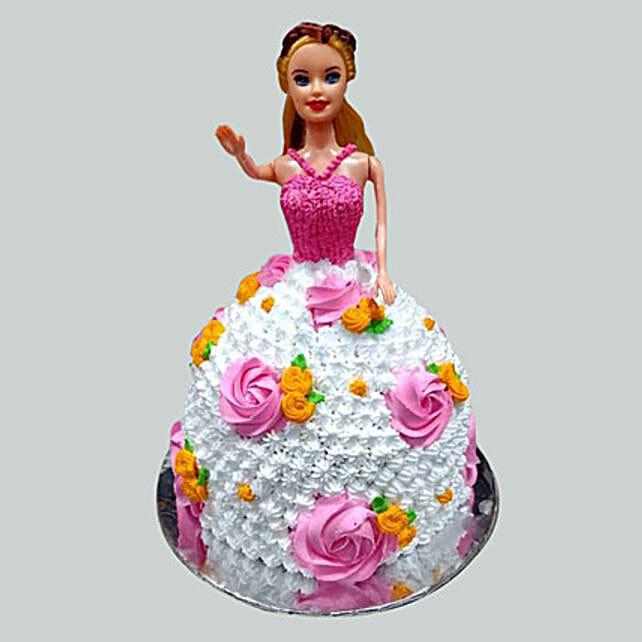 Floral Barbie Cake Pineapple 3kg Eggless
