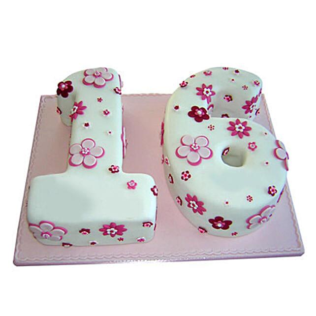 Floral Sweet Sixteen Cake 4kg Eggless Chocolate