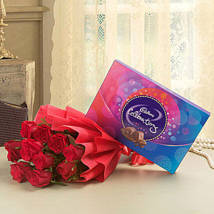 Combo of a bunch of 10 red roses with cadbury celebrations chocolate box:Flower With Chocolate