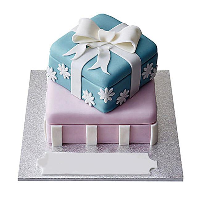 Gift Box Fondant Cake Black Forest 5kg Eggless