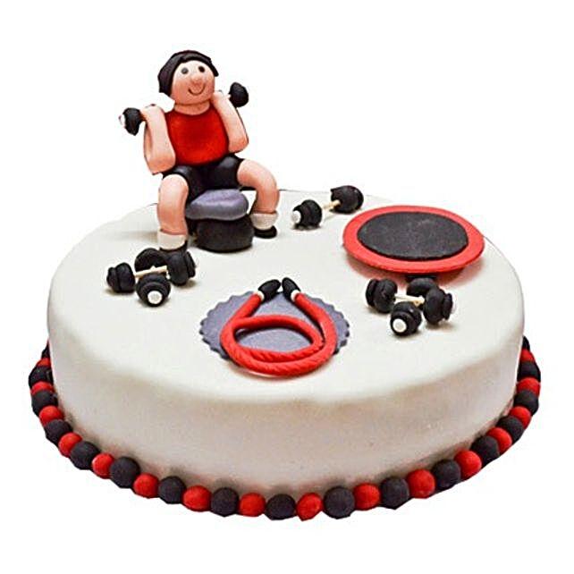 Gym Fondant Cake 2kg Vanilla Eggless