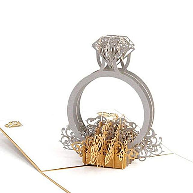 Handmade 3D Pop Up Diamond Ring Greeting Card