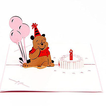 Handmade 3D Winnie The Pooh Pop Up Birthday Greeting Card