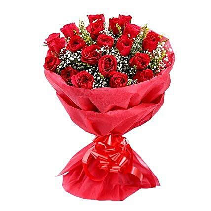 Love is Forever - 20 red roses in red paper packing.