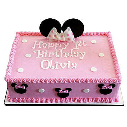 Astonishing Lovely Pink Minnie Mouse Cake 2Kg Vanilla Gift Minnie Mouse Funny Birthday Cards Online Overcheapnameinfo