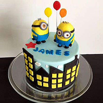 Minions with balloons 2kg Chocolate Eggless