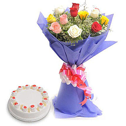 Mix Flowers N Cake - Bunch of 12 Mix colour roses with 500gm Pineapple Cake.