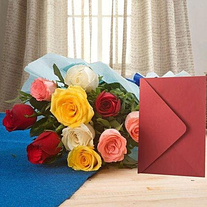Mix Roses N Greeting Card - Bunch of 10 Mix roses and a greeting card.:Send Flowers & Cards for Birthday