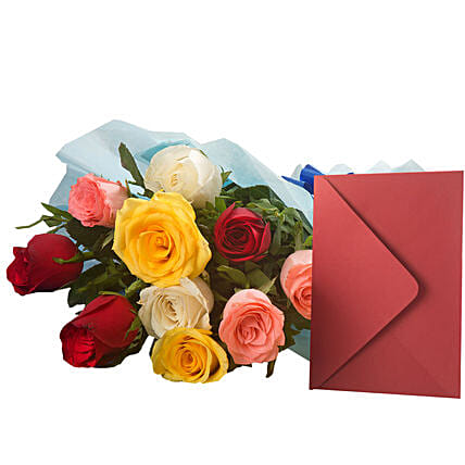 Mix Roses N Greeting Card - Bunch of 10 Mix roses and a greeting card.:Flowers & Greeting Cards for Mothers Day