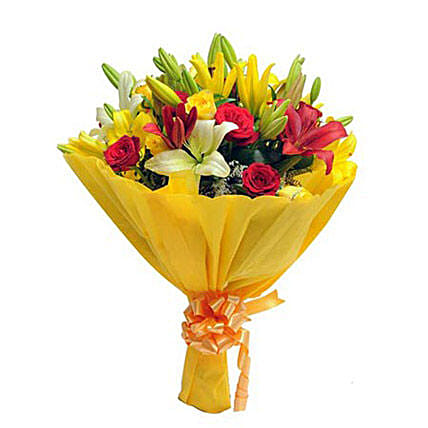 Bunch of 4 red roses, 4 yellow roses, 4 yellow asiatic lilies, 2 red asiatic lilies and seasonal filler