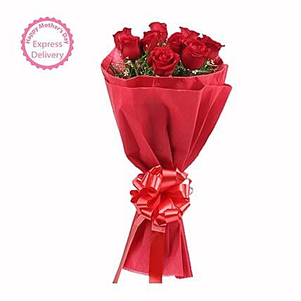 Mothers Day Spl 15 Red Roses Bouquet by FNP