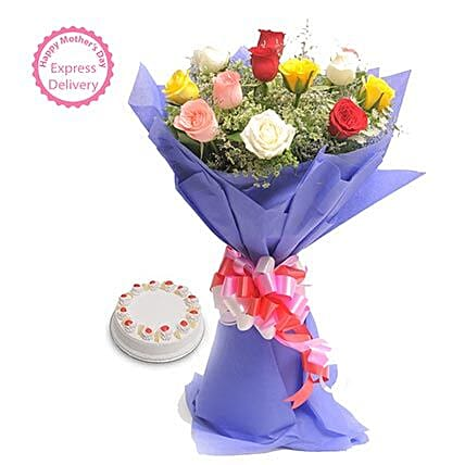 Mothers Day Spl Mix Flowers n Cake by FNP