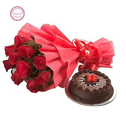 Mothers Day Spl Red Rose with Cake by FNP