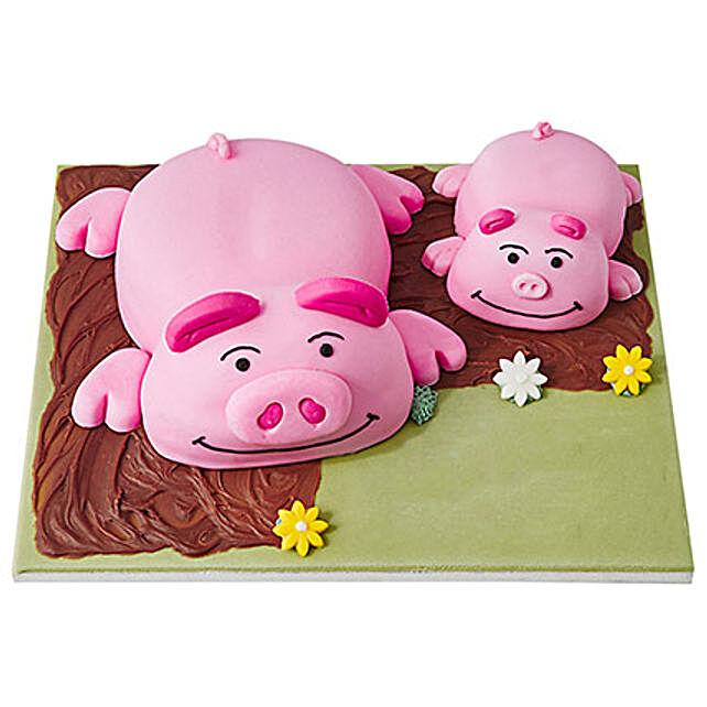 Percy Pig Fondant Cake Chocolate 4kg Eggless