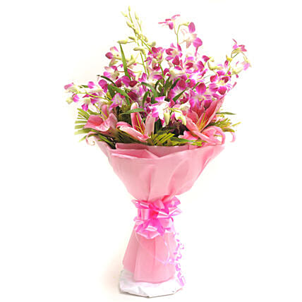 Perfection - Bunch of 10 Purple Orchids with 2 pink lilies in a paper packing.:Send Gifts for 10Th Anniversary
