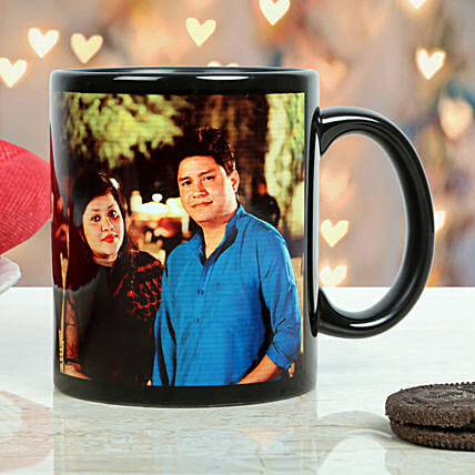 Personalized Couple Mug-printed on black ceramic coffee mug:Gift Delivery in Idukki
