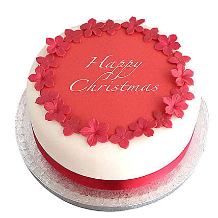 Red N White Christmas Fondant Cake Chocolate 1kg