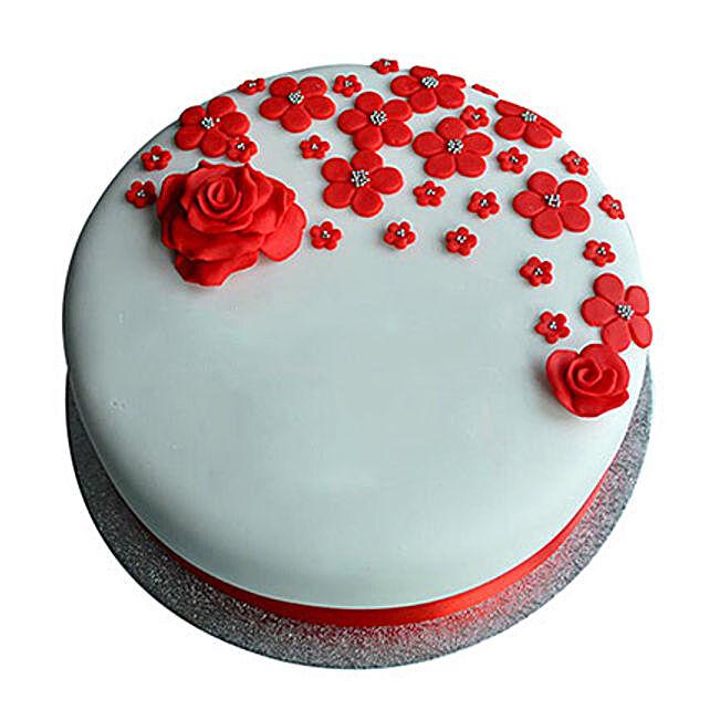 Red Roses Anniversary Fondant Cake Vanilla 1kg Eggless