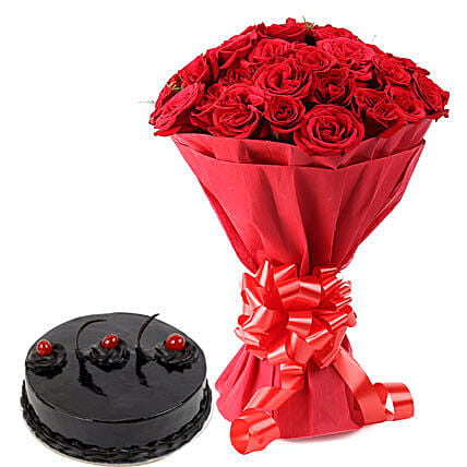 Red Roses with Cake Eggless Premium
