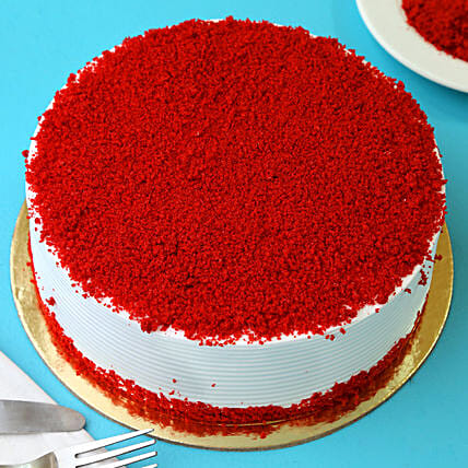 Red Velvet Fresh Cream Cakes Half kg Eggless:Birthday Cakes for Dad