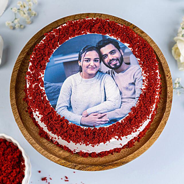 Red Velvet Photo Cake 1kg Eggless