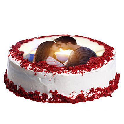 Red Velvet Photo Cake 2kg Eggless