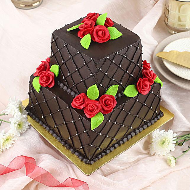 Rose N Truffle 2 Tier Cake 3kg Eggless