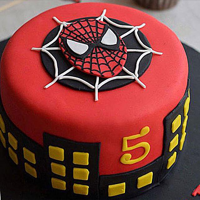 Round Fondant Spiderman Cake 2kg Vanilla Eggless