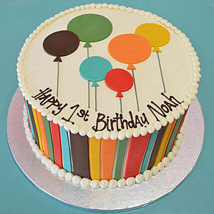 Shades Of Balloons Cake 1kg Truffle Gift Birthday Cakes In Balloon Design 1kg Truffle Ferns N Petals