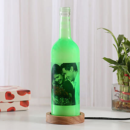 Shining Memory Lamp-1 green colored personalized bottle lamp gifts:Send Gifts to Sonbhadra