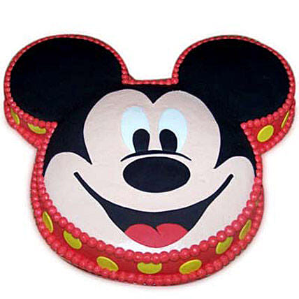 Soft Mickey Face Cake 3kg Pineapple Eggless