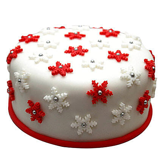 Star Filled Christmas Fondant Cake 1kg Black Forest Eggless