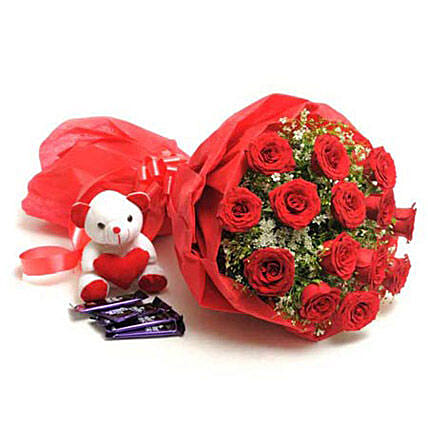 Sweet Romance - Bunch of 15 Red Roses in paper packing with 5 cadbury chocolates and cute soft toy.:Flowers & Teddy Bears for Anniversary