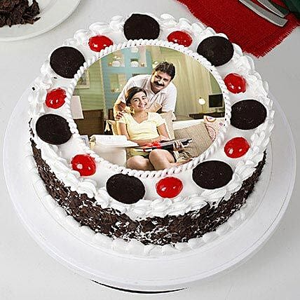 Tasty Black Forest Photo Cream Cake for Fathers Day 1kg
