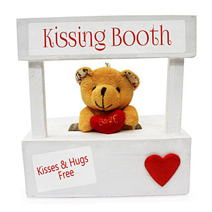 The Best Darn Kiss You Can Ever Get-6x6 inch wooden kissing booth,2 inch teddy bear:Send Soft toys to Delhi